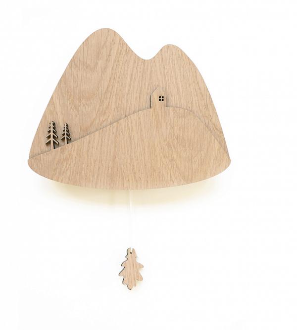 Muziekdoos van hout met tafereel van bergen