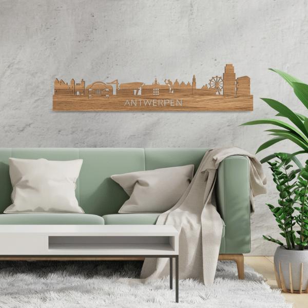 Skyline-Antwerpen-Eiken-hout-decoratie-cadeau-relatiegeschenk
