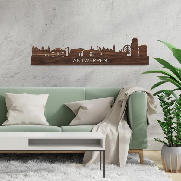 Skyline-Antwerpen-Noten-hout-decoratie-cadeau-relatiegeschenk
