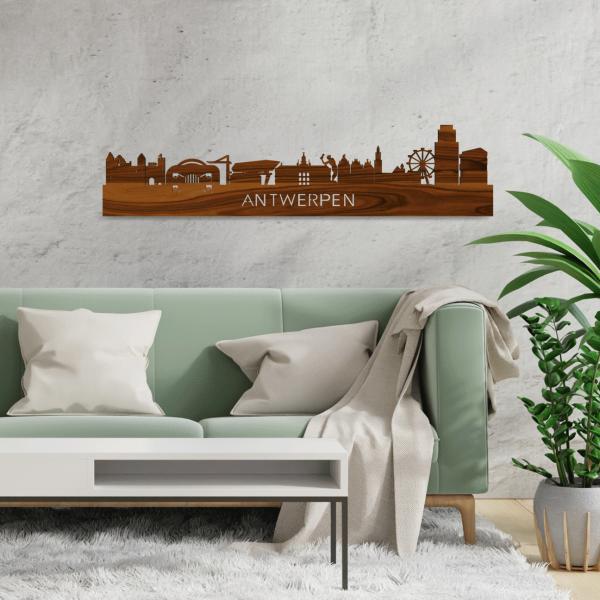 Skyline-Antwerpen-Palissander-hout-decoratie-cadeau-relatiegeschenk
